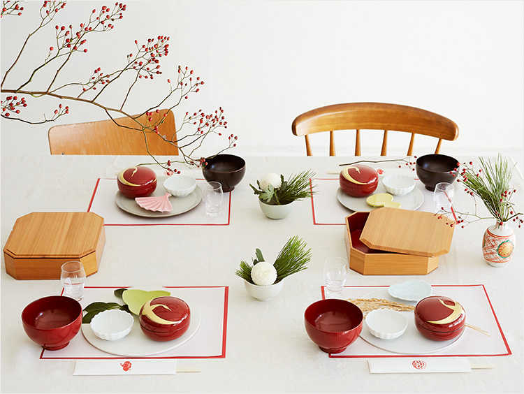 お正月のテーブルコーディネートの全景