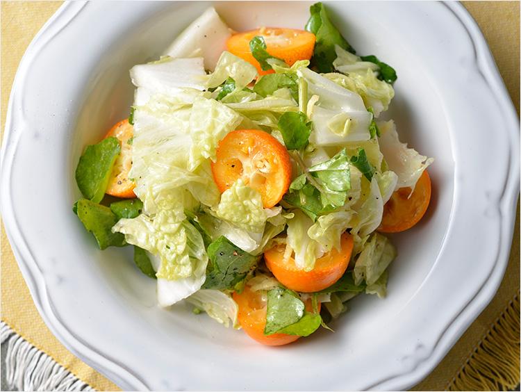 白菜と金柑の中華風サラダ