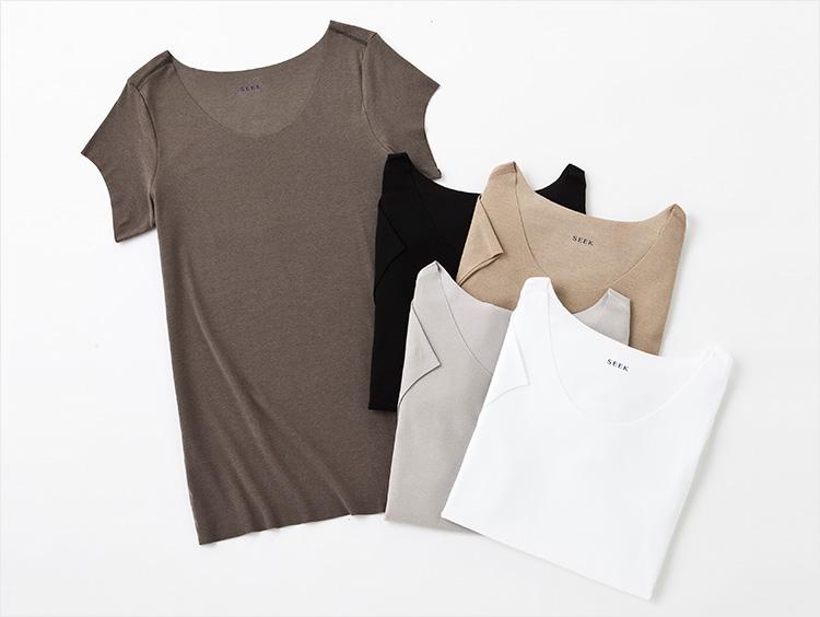 <SEEK/シーク>年間素材/ボートネックTシャツ/Tシャツ対応/汗ジミ防止