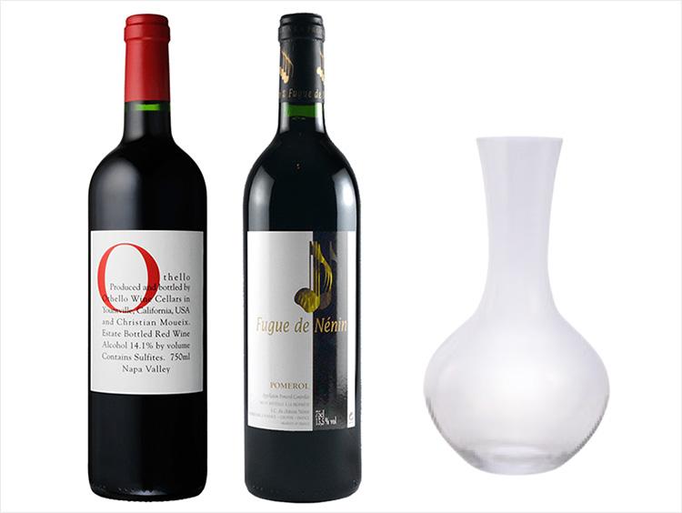 <リーデル>デキャンタ&フルボディ赤ワイン2本セット