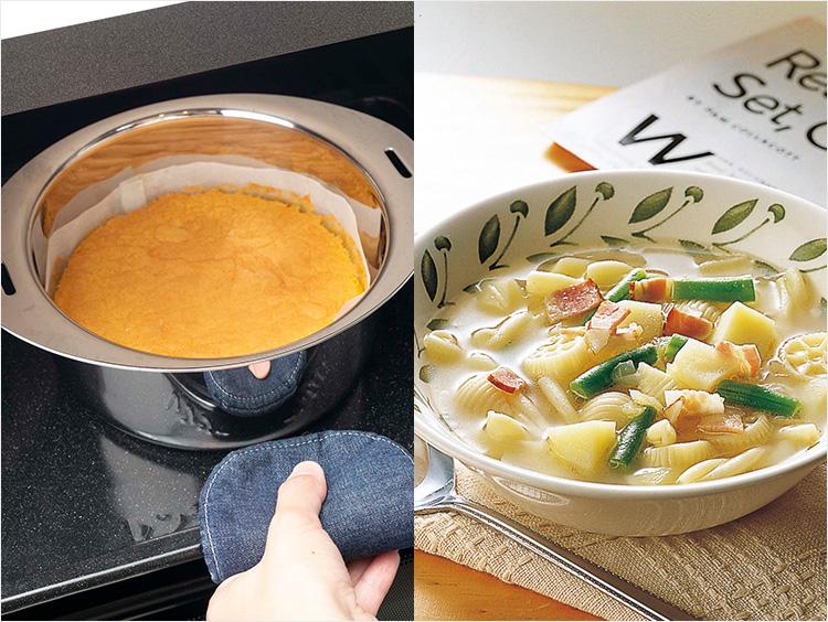 お菓子の調理とマカロニ野菜スープのイメージ