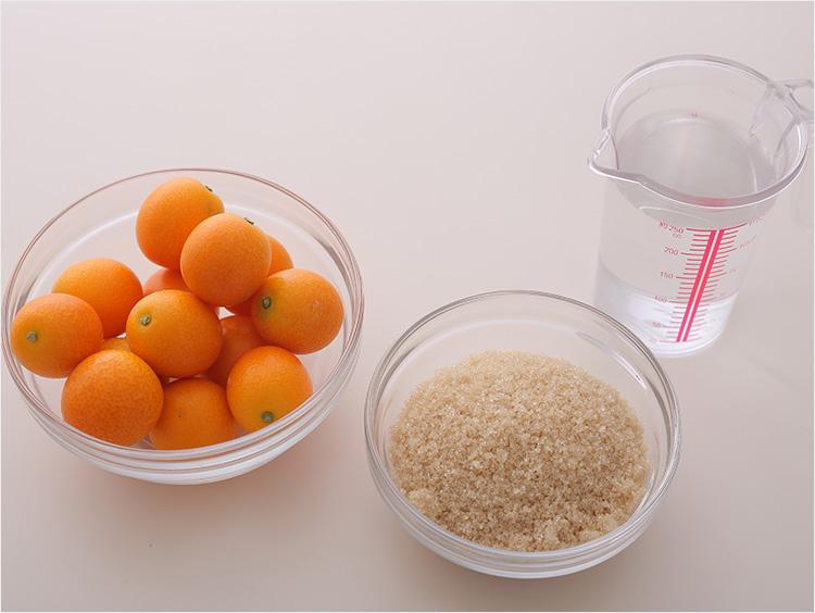 金柑の甘露煮の材料