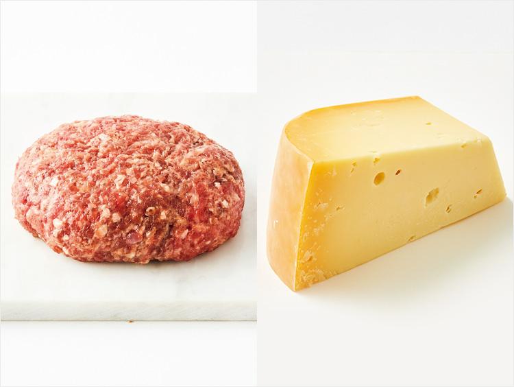 左:<小島商店>滋賀県産 澤井姫和牛ハンバーグ、右:<フロマジュリーHISADA>農家製ゴーダドゥメ6ヶ月熟成