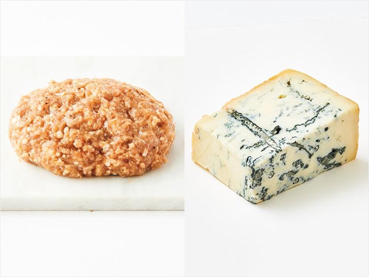 左:<小島商店>仔牛ハンバーグ、右:<フロマジュリーHISADA>ゴルゴンゾーラピカンテ