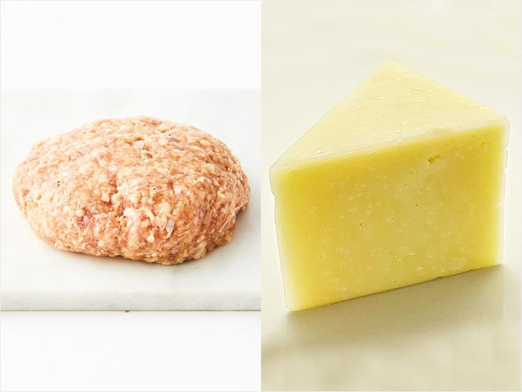左:<小島商店>国産マンガリッツァ豚ハンバーグ、右:<フロマジュリーHISADA>ペコリーノロマーノD.O.P.