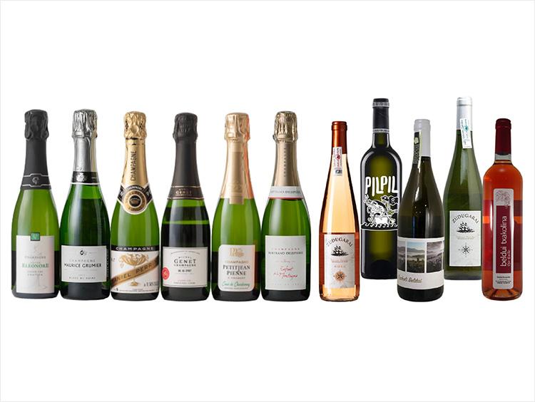 シャンパーニュ小規模生産者ハーフサイズ6本セット、春におすすめチャコリずくし!白とロゼのバスクワイン5本セット