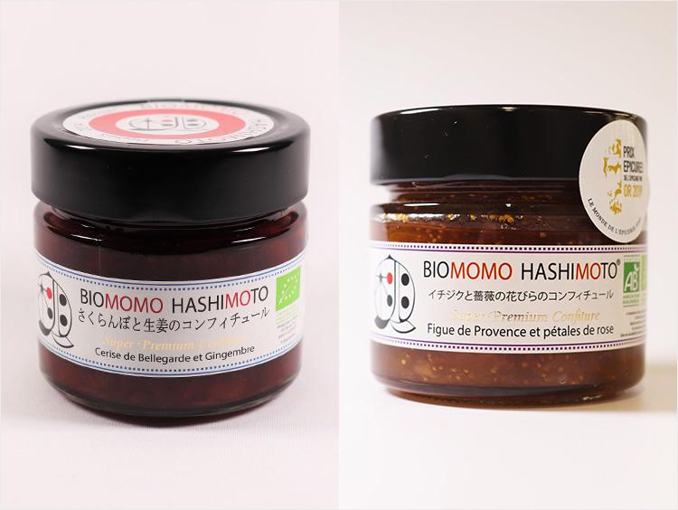 <ビオモモ ハシモト>左:さくらんぼと生姜のコンフィチュール、右:イチジクと薔薇の花びらのコンフィチュール