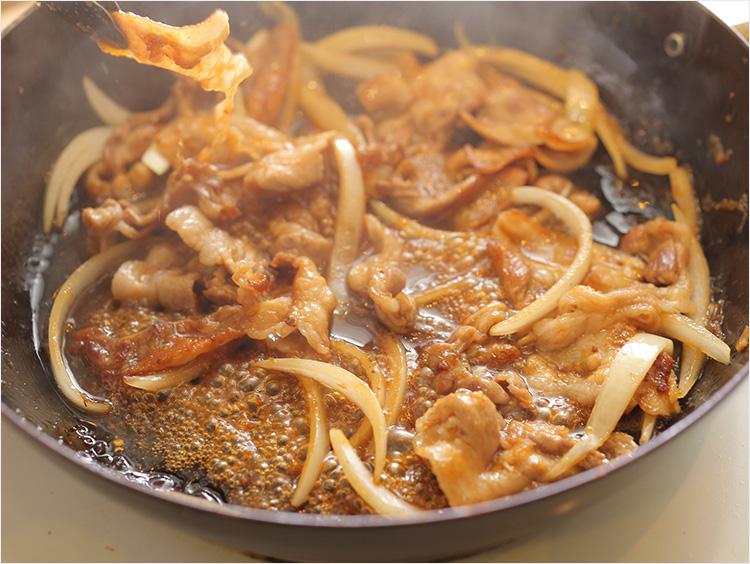 生姜焼きが煮詰まったところ