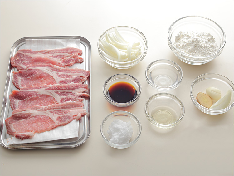 豚ロース肉の生姜焼きの材料