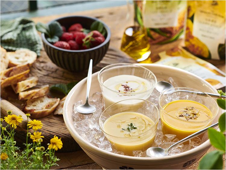 巣ごもり生活が充実する「食べ比べセット」に注目! いろいろ試せる冷製スープ、むぎとろ、餃子、肉…