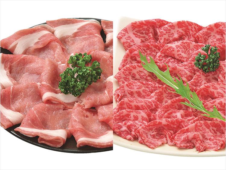 <精肉の二幸>国産黒毛和牛肉と鹿児島県産黒豚しゃぶしゃぶ用セット
