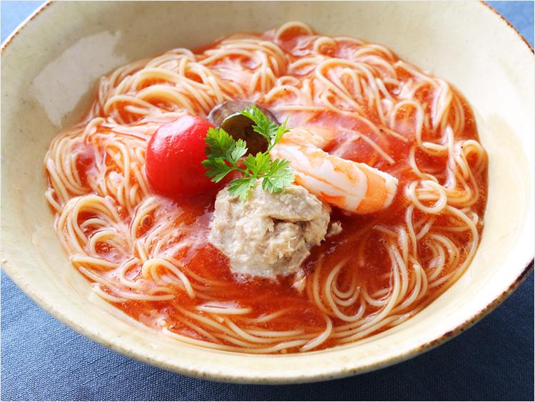 <なだ万厨房>冷製トマトスープの和風カッペリーニ