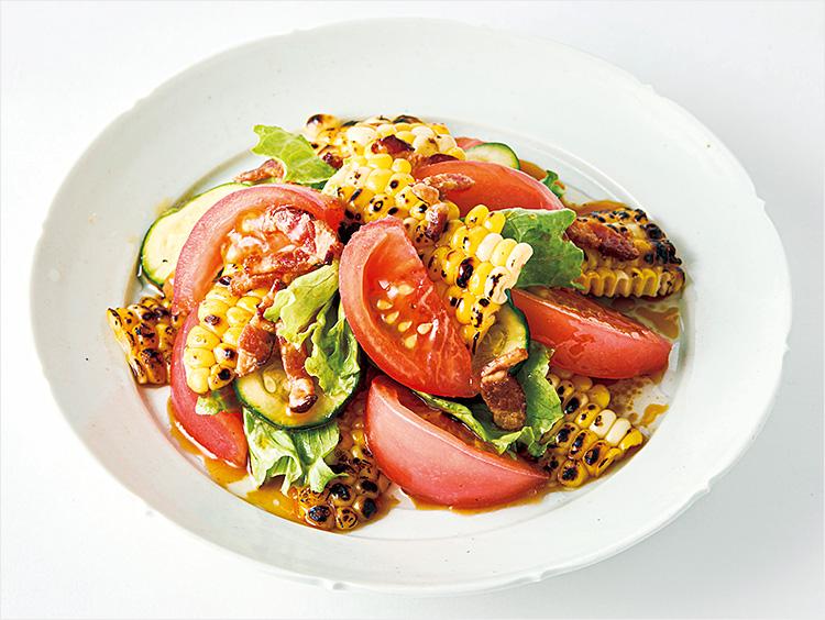 <いとはん>焼きとうもろこしと夏野菜の和さらだ