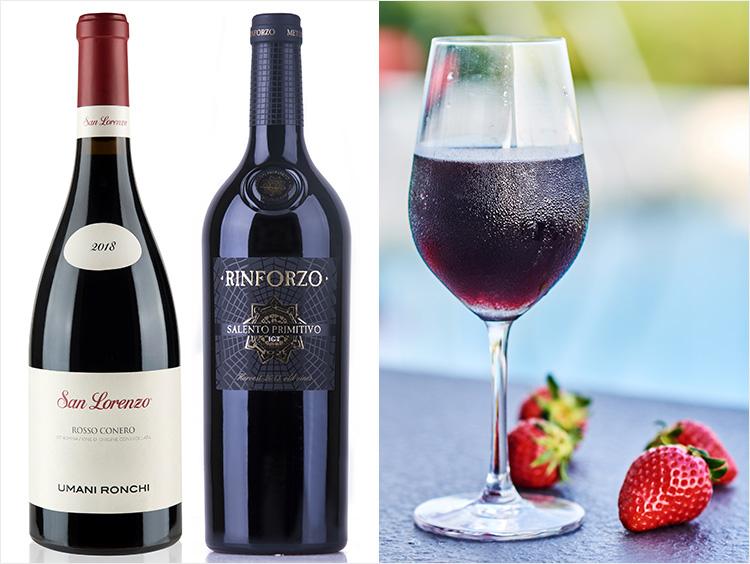 """<ウマニロンキ>""""サンロレンツォ"""" ロッソ・コーネロ、<モンドデルヴィーノ>リンフォルツォ・プリミティーヴォ、冷して飲む赤ワインのイメージ"""