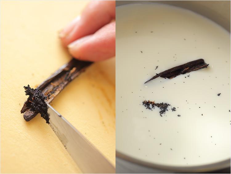バニラビーンズを包丁でしごき出し、牛乳と一緒に温める