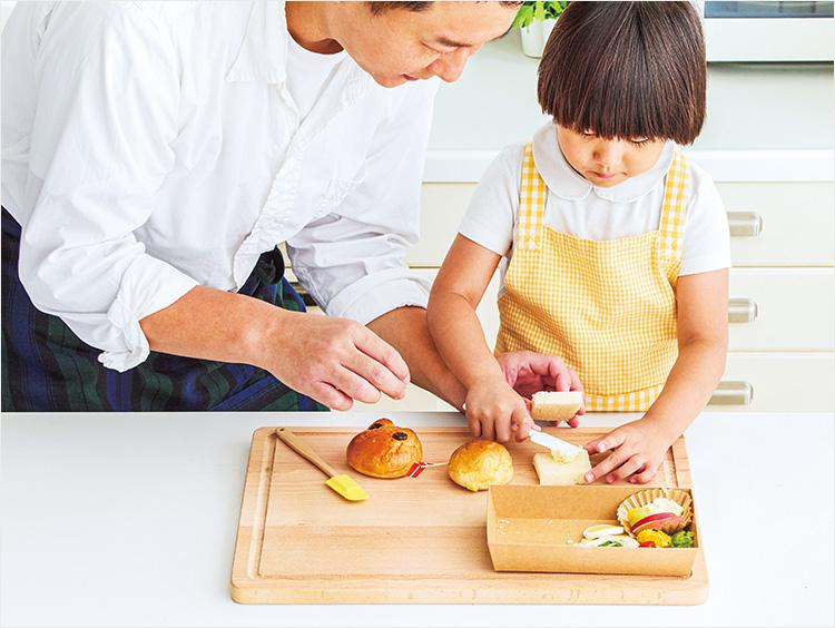 親子でパンをつくるイメージ