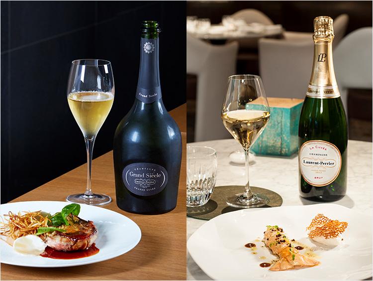 ローラン・ペリエのシャンパンが食中酒として楽しまれているイメージ